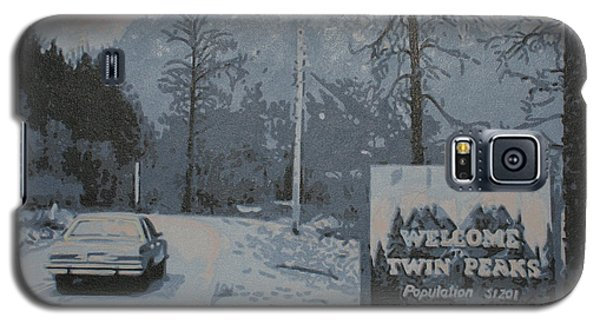 Galaxy S5 Case featuring the painting Entering The Town Of Twin Peaks 5 Miles South Of The Canadian Border by Luis Ludzska