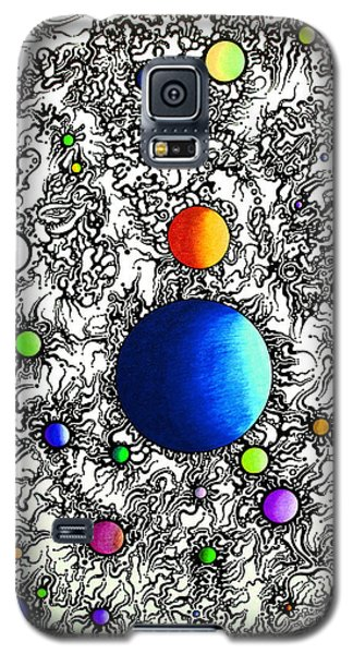 Galaxy S5 Case featuring the drawing Entropy Color Variation 4 by Devin  Cogger