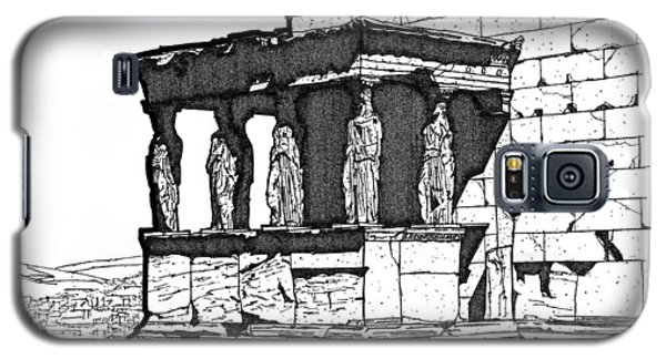 Galaxy S5 Case featuring the drawing Erechtheion Caryatids by Calvin Durham
