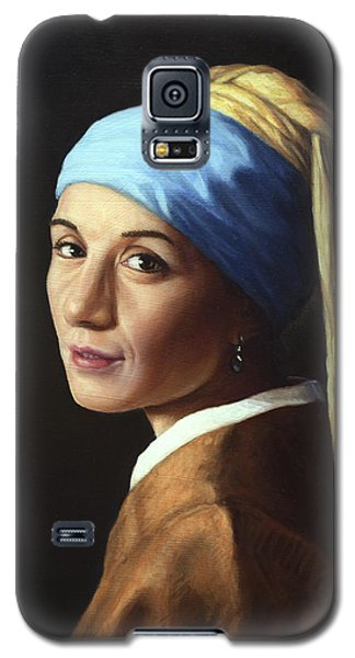 Galaxy S5 Case featuring the painting Erika With A Pearl Earring by James W Johnson