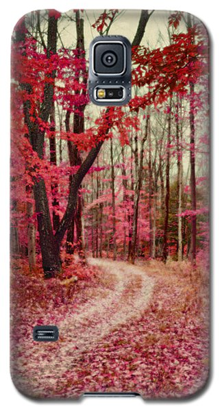 Ethereal Forest Path With Red Fall Colors Galaxy S5 Case by Brooke T Ryan