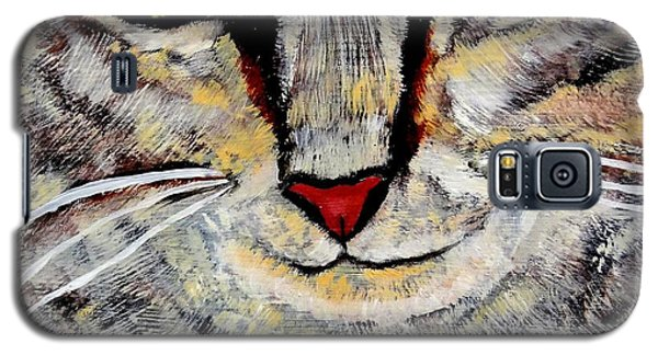 Galaxy S5 Case featuring the painting Ethical Kitty See's Your Dilemma by Lisa Brandel