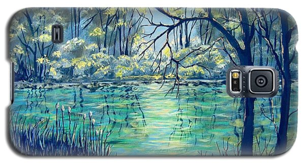 Galaxy S5 Case featuring the painting Evening At The Bayou by Suzanne Theis