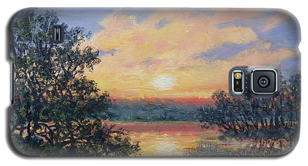 Galaxy S5 Case featuring the painting Evening Marsh Light by Kathleen McDermott