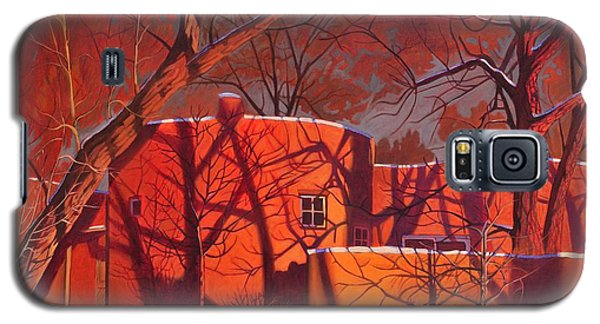 Galaxy S5 Case featuring the painting Evening Shadows On A Round Taos House by Art James West