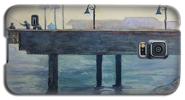 Galaxy S5 Case featuring the painting Eventide At The Oceanside Harbor Fishing Pier by Jan Cipolla