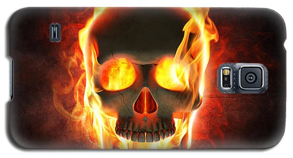 Evil Skull In Flames And Smoke Galaxy S5 Case