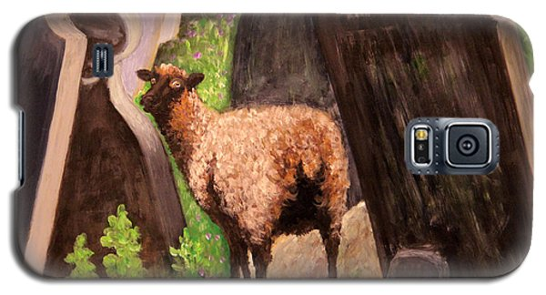 Galaxy S5 Case featuring the painting Ewe Spooked? by Janet Greer Sammons