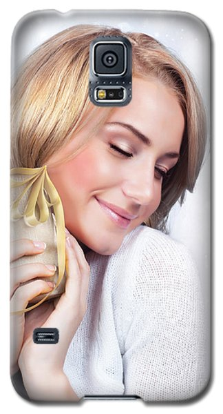 Excited Woman With Gift Box Galaxy S5 Case