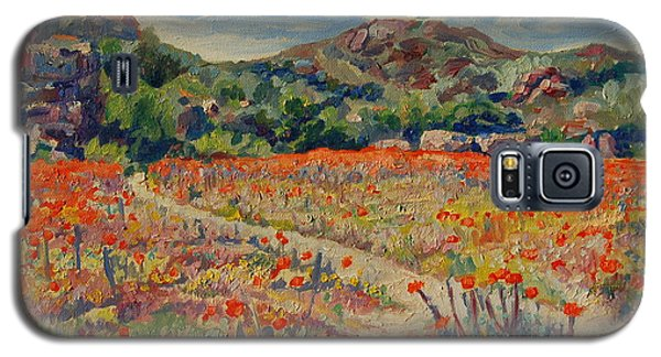 Galaxy S5 Case featuring the painting Expanse Of Orange Desert Flowers With Hills by Thomas Bertram POOLE