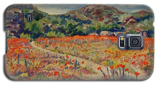 Expanse Of Orange Desert Flowers With Hills Galaxy S5 Case