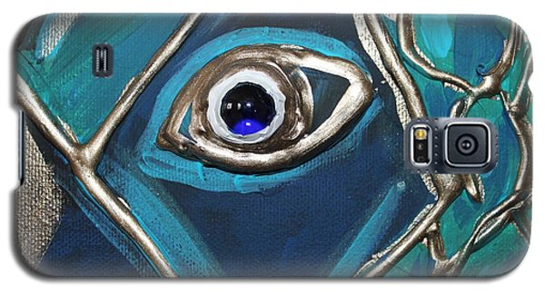 Galaxy S5 Case featuring the painting Eye Of The Peacock by Cynthia Snyder