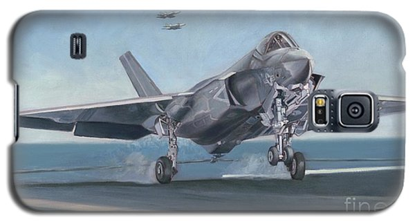 Galaxy S5 Case featuring the painting F-35c Carrier Landing by Stephen Roberson