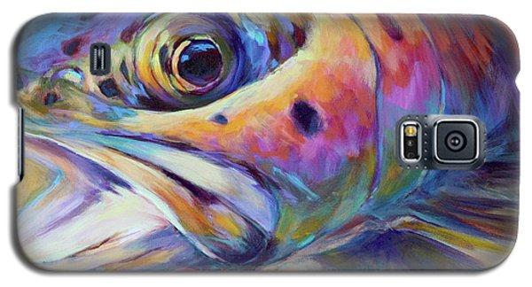 Face Of A Rainbow- Rainbow Trout Portrait Galaxy S5 Case by Savlen Art