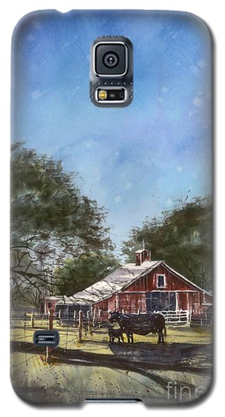 Galaxy S5 Case featuring the painting Faded Barn by Tim Oliver