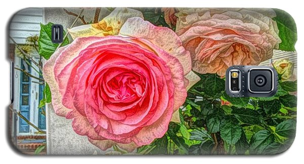 Galaxy S5 Case featuring the photograph Faded Pink Roses On A Trellis by Becky Lupe