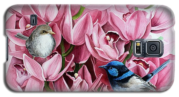 Galaxy S5 Case featuring the painting Fairy Wrens And Orchids by Debbie Hart