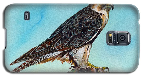 Galaxy S5 Case featuring the painting Falcon On Stump by Anthony Mwangi