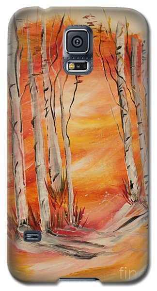 Galaxy S5 Case featuring the painting Fall Aspen On Paper by Janice Rae Pariza