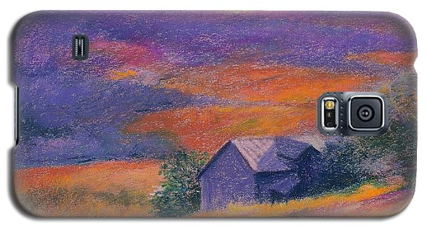Galaxy S5 Case featuring the painting Fall Barn Pastel Landscape by Judith Cheng