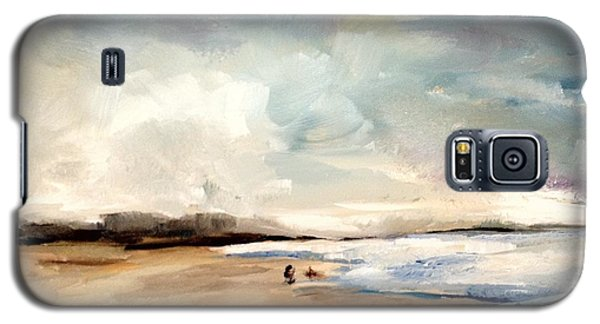 Galaxy S5 Case featuring the painting Fall Beach Day Two by Lindsay Frost