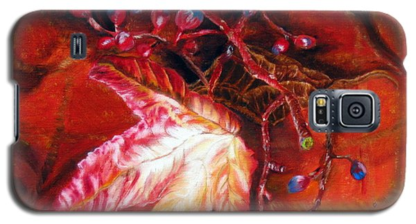 Galaxy S5 Case featuring the painting Fall Leaf And Berries by LaVonne Hand