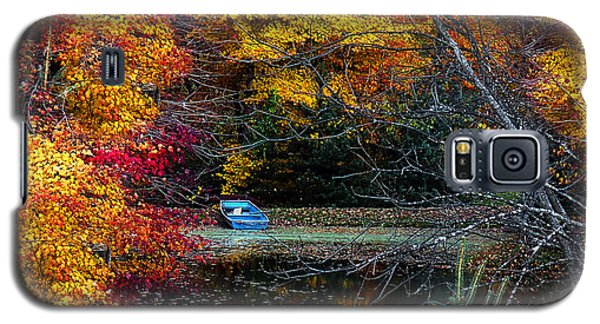 Fall Pond And Boat Galaxy S5 Case