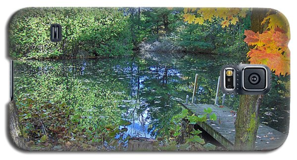 Galaxy S5 Case featuring the photograph Fall Scene By Pond by Brenda Brown