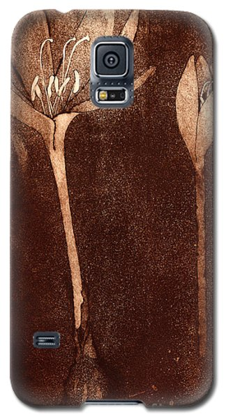 Galaxy S5 Case featuring the painting Fall Time - Autumn Crocus Meadow Safran by Urft Valley Art