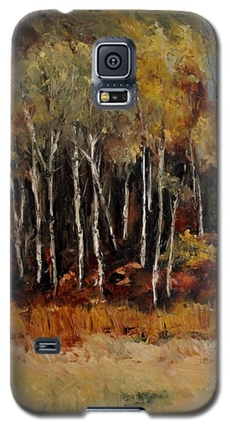 Galaxy S5 Case featuring the painting Fall Trees Number Two by Lindsay Frost