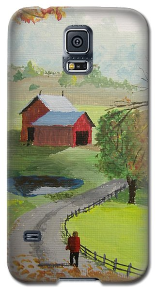 Galaxy S5 Case featuring the painting Fall Walk by Norm Starks