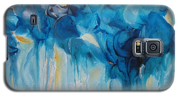 Galaxy S5 Case featuring the painting Falling Into Blue II by Elis Cooke