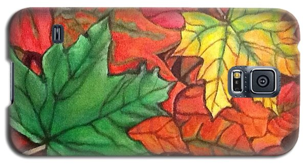 Galaxy S5 Case featuring the painting Falling Leaves 1 Painting With Quote by Kimberlee Baxter