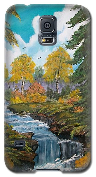 Galaxy S5 Case featuring the painting Rushing Waters  Falls  by Sharon Duguay