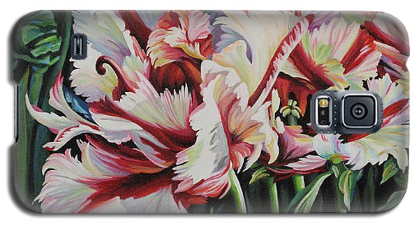 Galaxy S5 Case featuring the painting Fancy Parrot Tulips by Jane Girardot