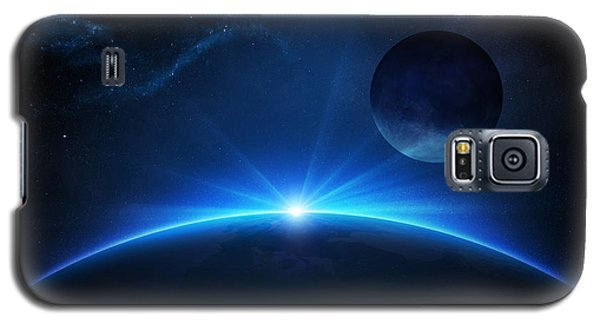 Planets Galaxy S5 Case - Fantasy Earth And Moon With Sunrise by Johan Swanepoel