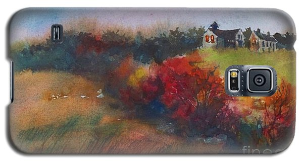 Galaxy S5 Case featuring the painting Farm On The Hill At Sunset by Joy Nichols