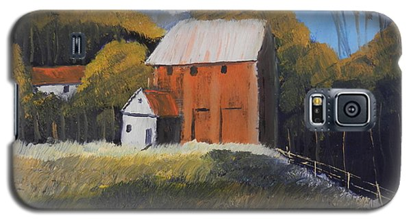 Galaxy S5 Case featuring the painting Farm With Red Barn by Pamela  Meredith