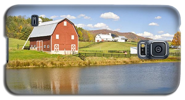 Galaxy S5 Case featuring the photograph Farm With Red Barn by Robert Camp