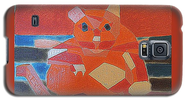 Galaxy S5 Case featuring the painting Fat Cat On A Hot Chaise Lounge by Richard W Linford