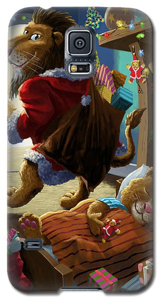 Father Christmas Lion Delivering Presents Galaxy S5 Case