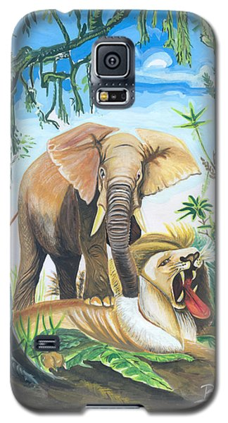 Galaxy S5 Case featuring the painting Faune D'afrique Centrale 01 by Emmanuel Baliyanga