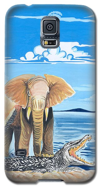 Galaxy S5 Case featuring the painting Faune D'afrique Centrale 02 by Emmanuel Baliyanga