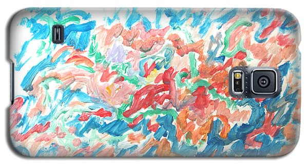 Galaxy S5 Case featuring the painting Feast Of Blue And Red by Esther Newman-Cohen