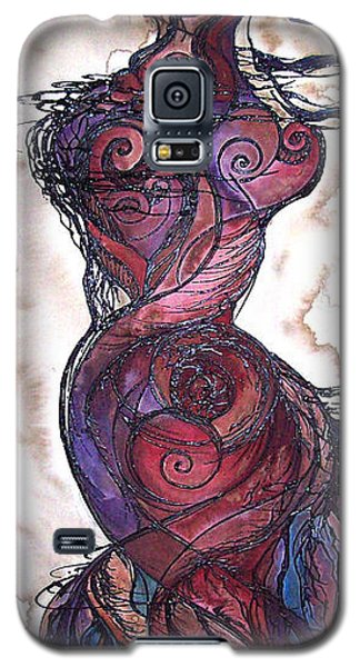 Galaxy S5 Case featuring the painting Feather Flow by Christy  Freeman