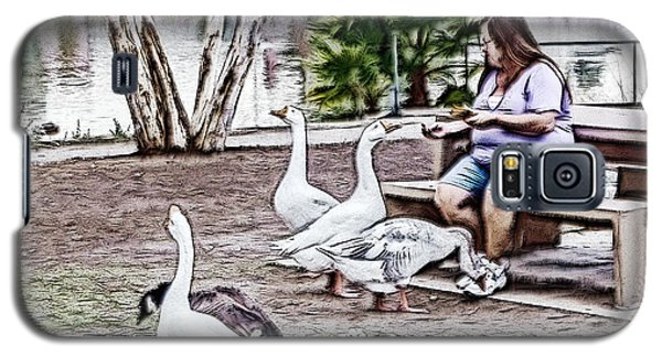 Galaxy S5 Case featuring the digital art Feeding The Geese by Photographic Art by Russel Ray Photos