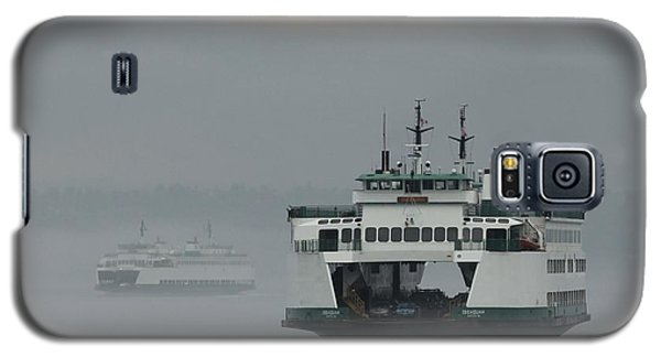 Galaxy S5 Case featuring the photograph Ferries Pass In The Fog by E Faithe Lester