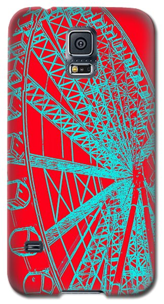 Ferris Wheel Silhouette Turquoise Red Galaxy S5 Case
