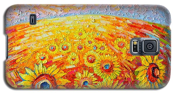 Fields Of Gold - Abstract Landscape With Sunflowers In Sunrise Galaxy S5 Case by Ana Maria Edulescu