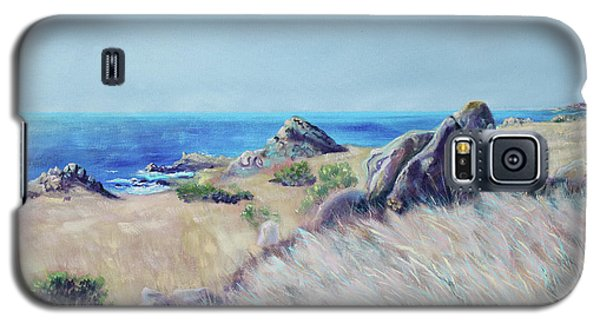 Galaxy S5 Case featuring the painting Fields With Rocks And Sea by Asha Carolyn Young
